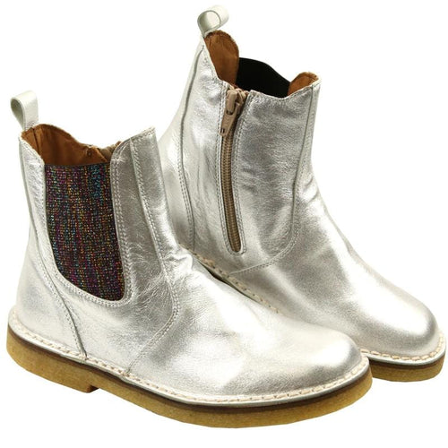 Pepe leather girls silver boots