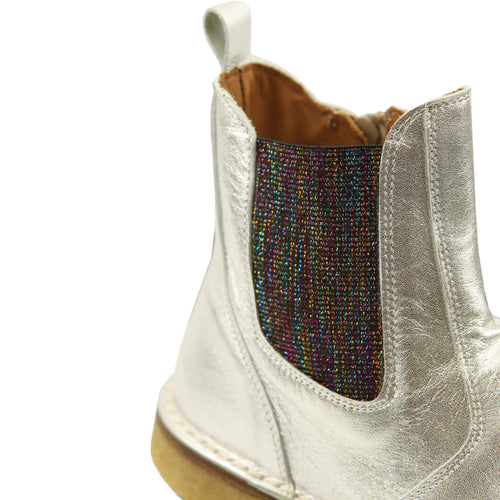 Pepe silver rainbow elastic leather short girls boots