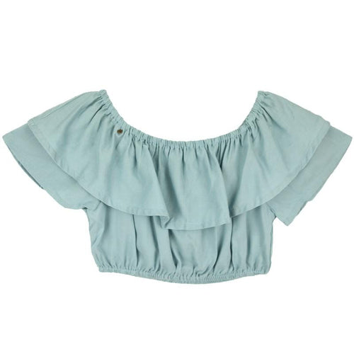 Skemo Sky Blue Dominica Cropped Girls Top