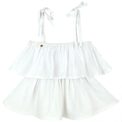 Skemo White Ruffle Girls Top