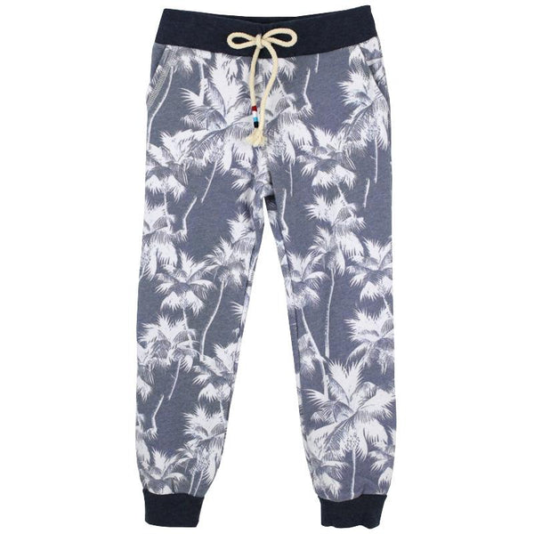 Navy kids sweatpants with white palm tree print