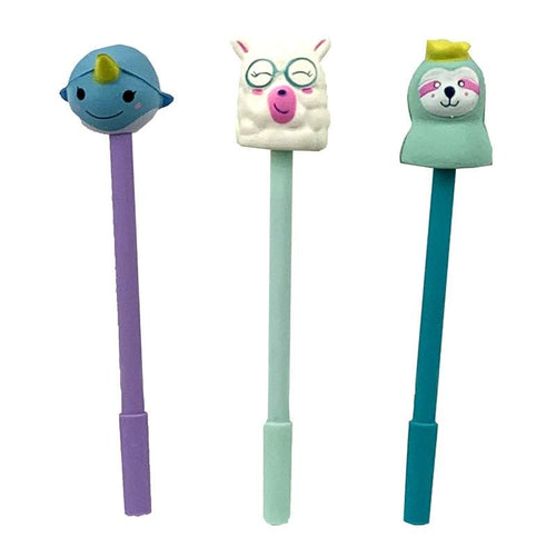 Squishy pens for kids narwhal, llama, sloth