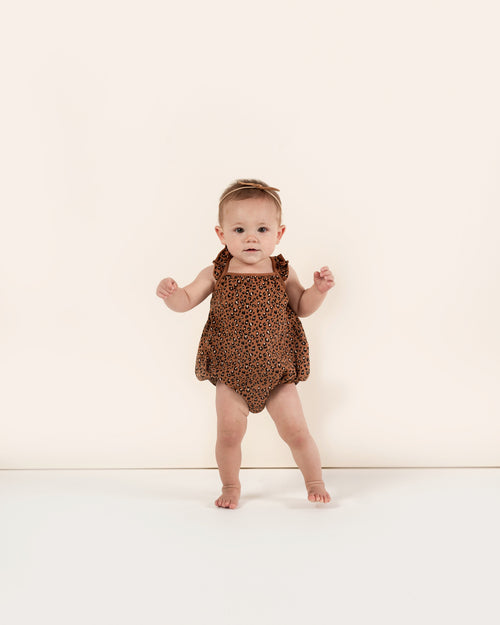 Rylee and cru cheetah print baby girl bubble romper