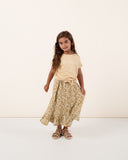 Rylee & Cru mustard yellow floral girls maxi skirt
