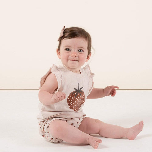 Rylee & Cru pink strawberry baby bloomers