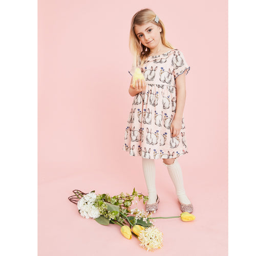 Pink chicken short sleeve light pink bunny print dress for girls