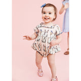 Pink chicken pink bunny baby girl bubble romper