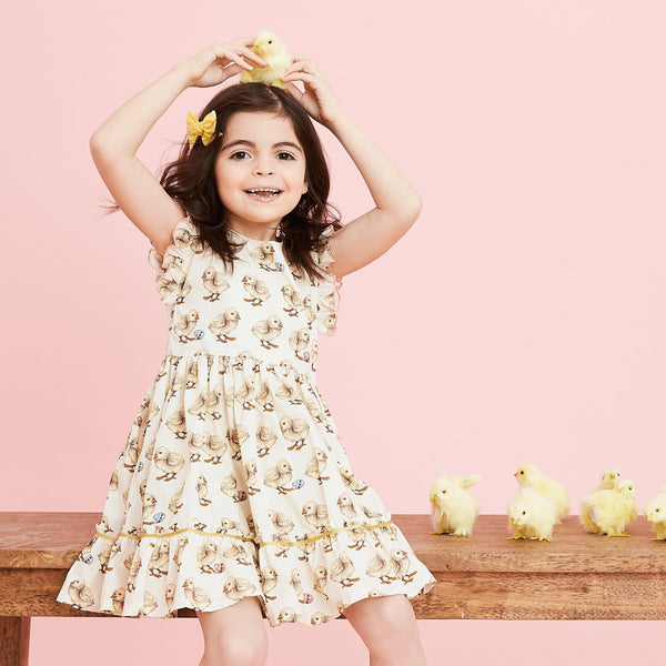 Pink chicken yellow chick short sleeve girls twirl dress