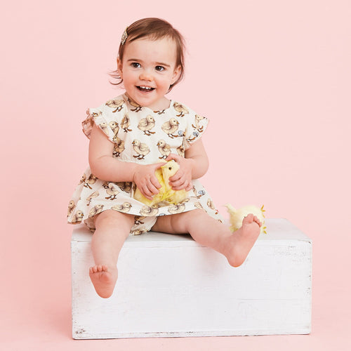 Pink chicken yellow chick baby girl dress set