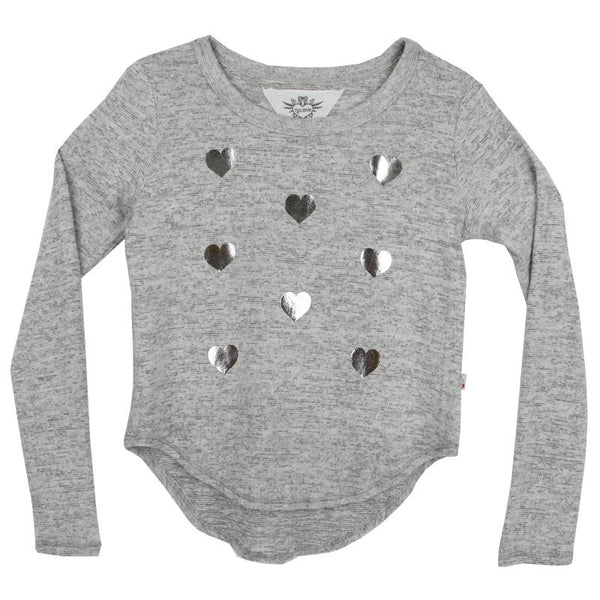 Grey heather girls sweater with metallic silver hearts