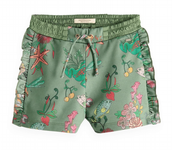 Green woven waist shorts with jungle prints