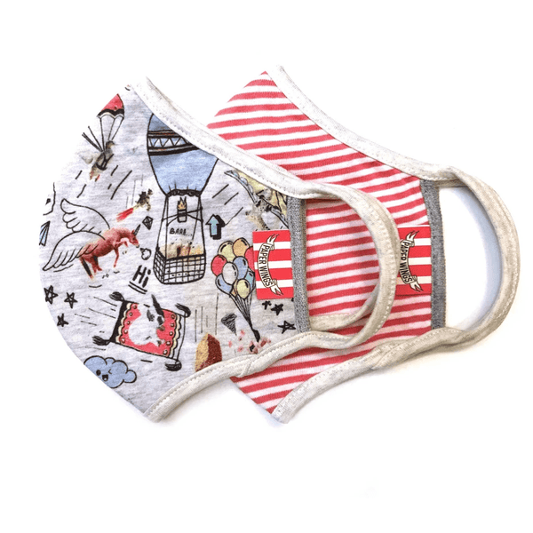 Paper Wings 2-in-1 Face Mask Set,  Up and Away - Red Stripes, 8+ years