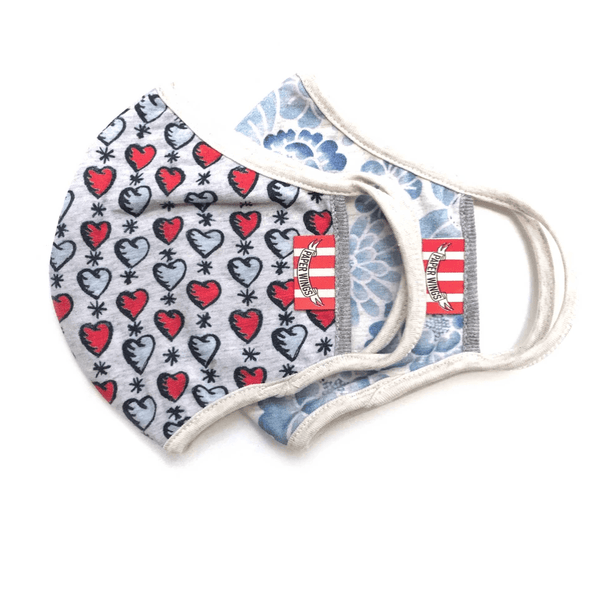 Paper Wings 2-in-1 Face Mask Set, Tattoo Hearts and Blue Floral, 8+ years