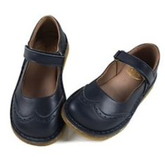Navy Girls Mary Janes Shoes with Velcro Closure