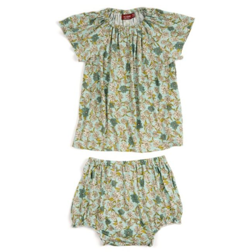 Blue Floral Baby Dress Set by Milkbarn - Little Skye Children's Boutique