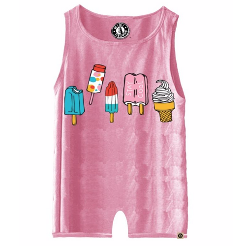 Pink sleeveless baby girl romper with popsicles and ice cream