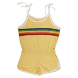 Girls yellow romper with rainbow stripe