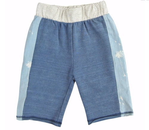 Blue Bermuda boys shorts with light blue side panels