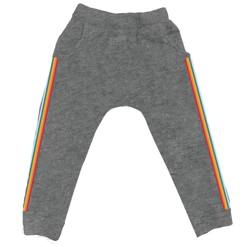 TIny Whales girls jogger pants with rainbow stripe