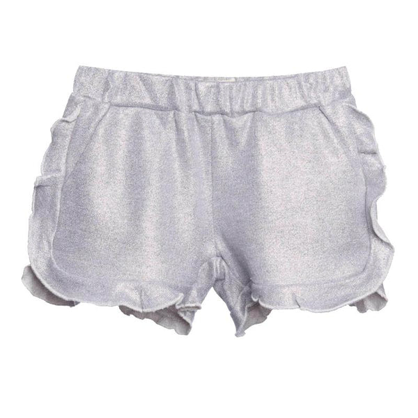 Girls silver ruffle pull on shorts with glitter