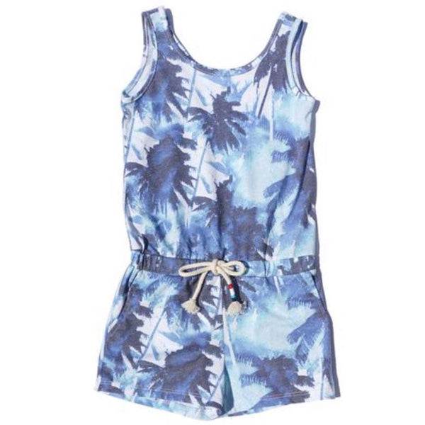 Sol Angeles summer shorts girl and tween romper with blue palm print