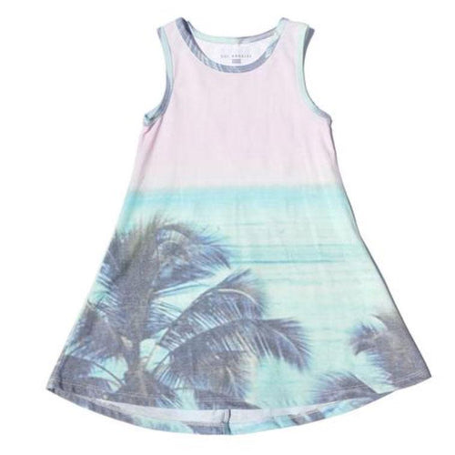 Sol Angeles sleeveless girls dress with tropical palm print
