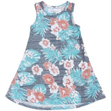 Blue hibiscus floral girls sleeveless sundress