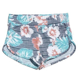 Hibiscus flower blue printed girls shorts