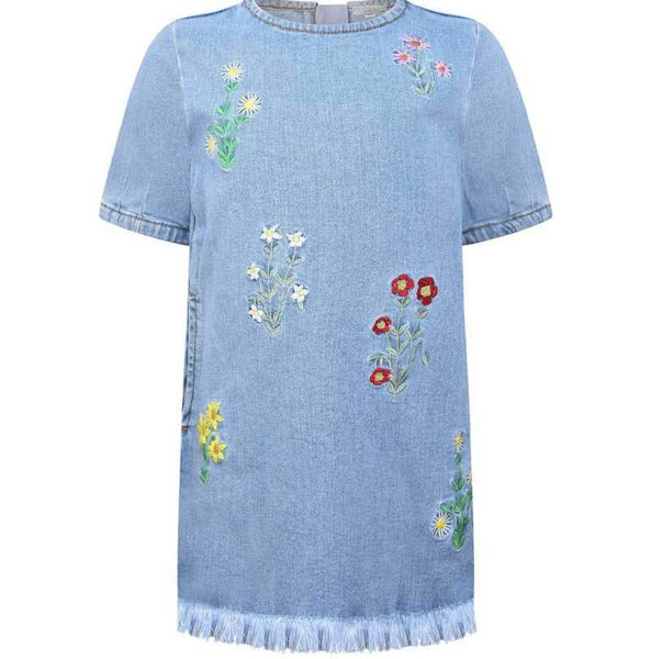 Stella McCartney kids embroidered floral denim girls dress