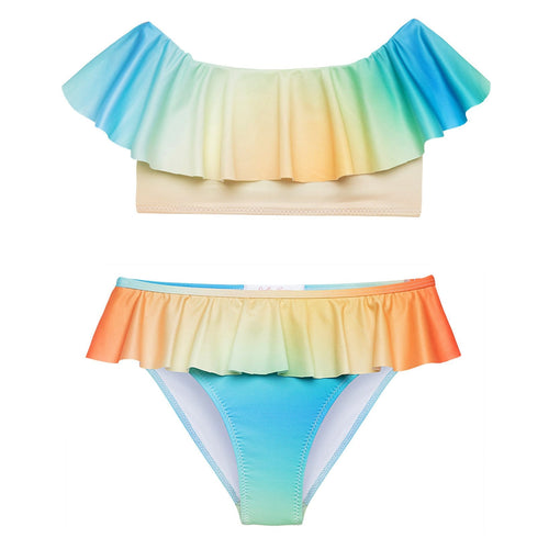 Stelle cove pastel dip dye girls bikini swimsuit two piece with ruffles