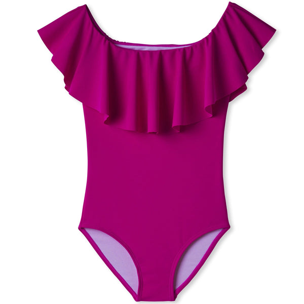 Stella cove purple ruffle one piece girls swimsuit