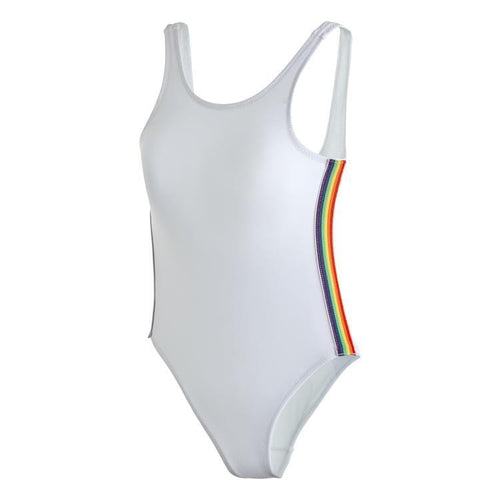 Stella cove white rainbow trim one piece girls swimsuit