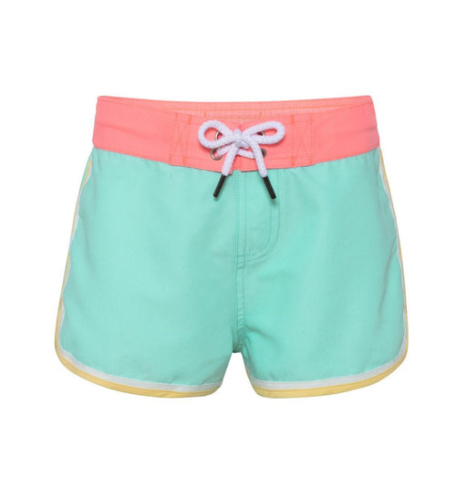 aqua girls board shorts with coral waist band