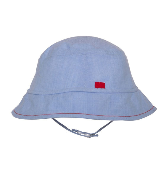 light blue baby boy sun hat with chin strap
