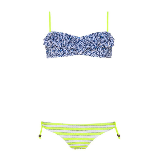blue patterned bikini top with neon green bottom