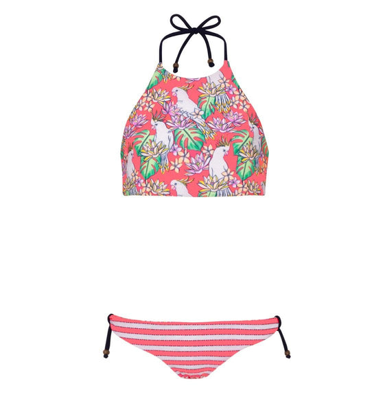 coral cockatoo bikini with red stripe bottoms