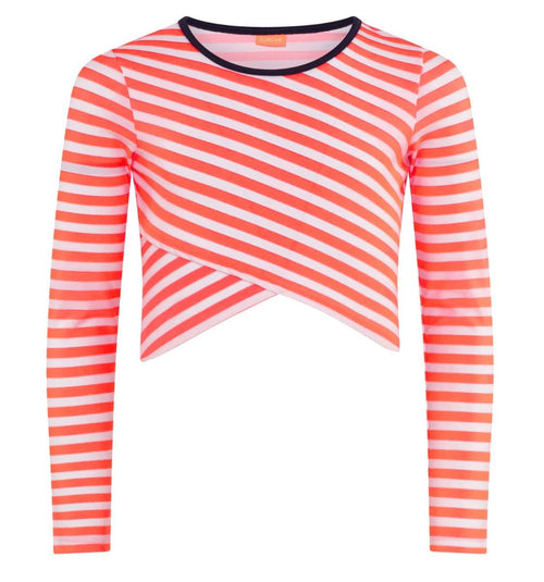 Coral striped cropped girls rash guard top