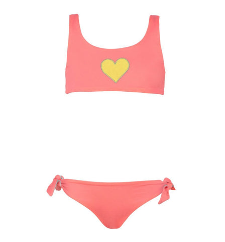 Sunuva Pink Reversible Heart Tie-Back Girls Bikini