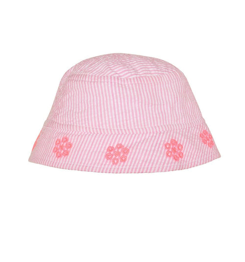 pink and white stripe baby girl sun hat with flowers on rim