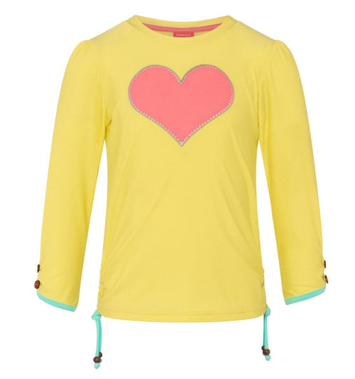 yellow long sleeve girls rash guard with pink heart on chest