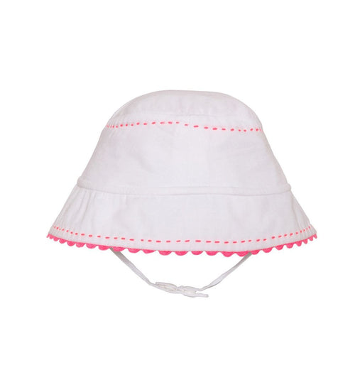 white baby sun hat with pink contrasting stitching