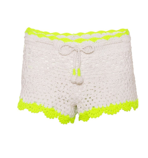 white crochet with neon yellow hems