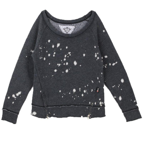 Black paint splatter girls sweatshirt with side zip