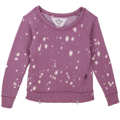T2Love Plum Paint Splatter Side Zip Girls Sweatshirt