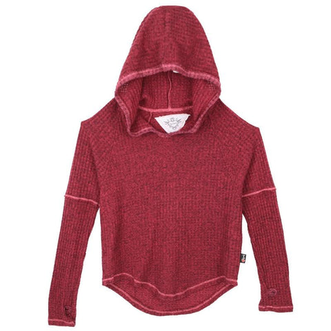 T2Love Burgundy Thermal Knit Girls Hoodie with Thumbholes
