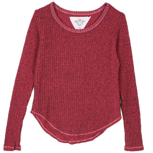 Burgundy girls thermal top by T2Love
