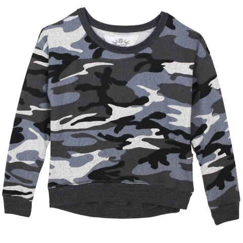 T2Love Charcoal Camo Cropped Girls Sweatshirt