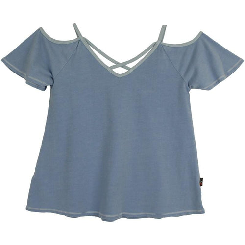 T2Love girls blue cold shoulder top
