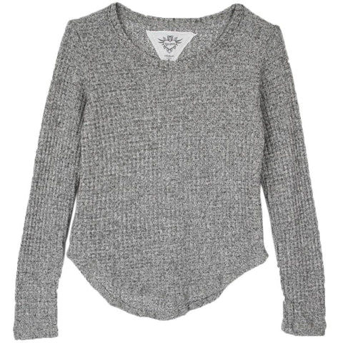 T2Love Grey Thermal Girls Top