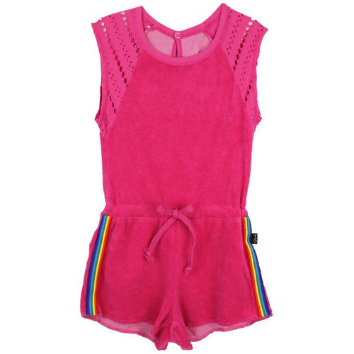Hot pink girls sleeveless romper with rainbow stripes on shorts